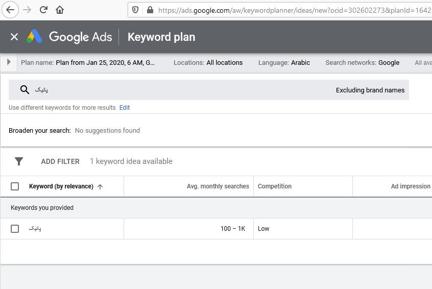 تصویر: روش پیدا کردن کلمه کلیدی با Google Keyword Planner